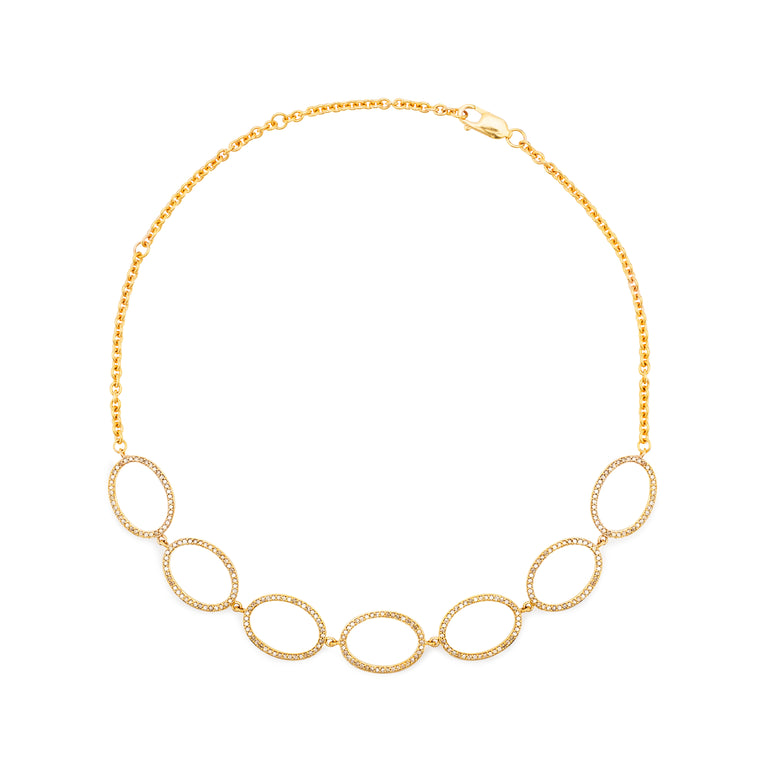 Yellow Gold and Diamond Oval Necklace