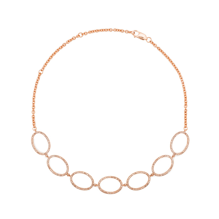 Rose Gold and Diamond Oval Necklace