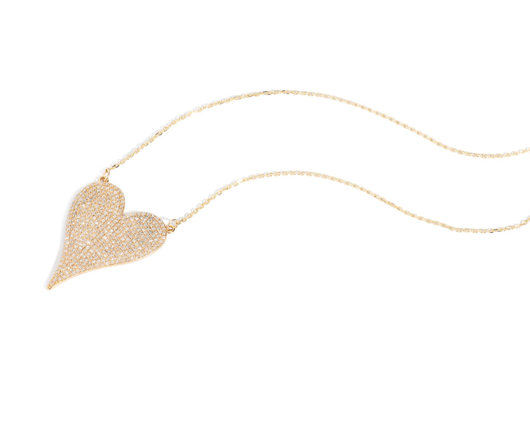 Yellow Gold and Diamond Jumbo Heart Pendant