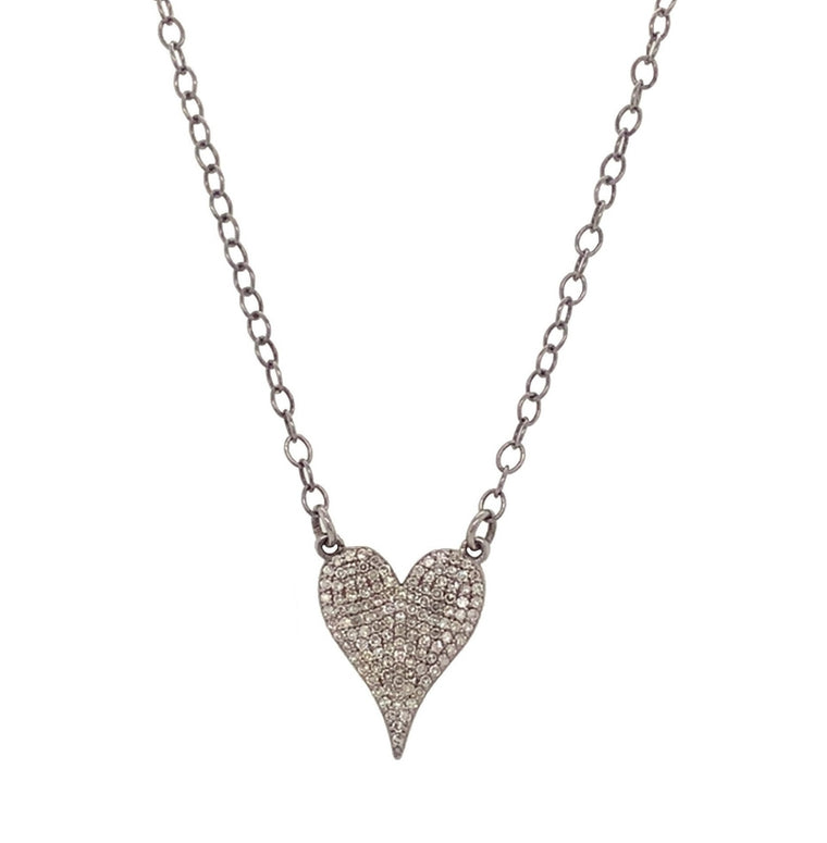 Black Rhodium & Diamond Medium Heart Necklace