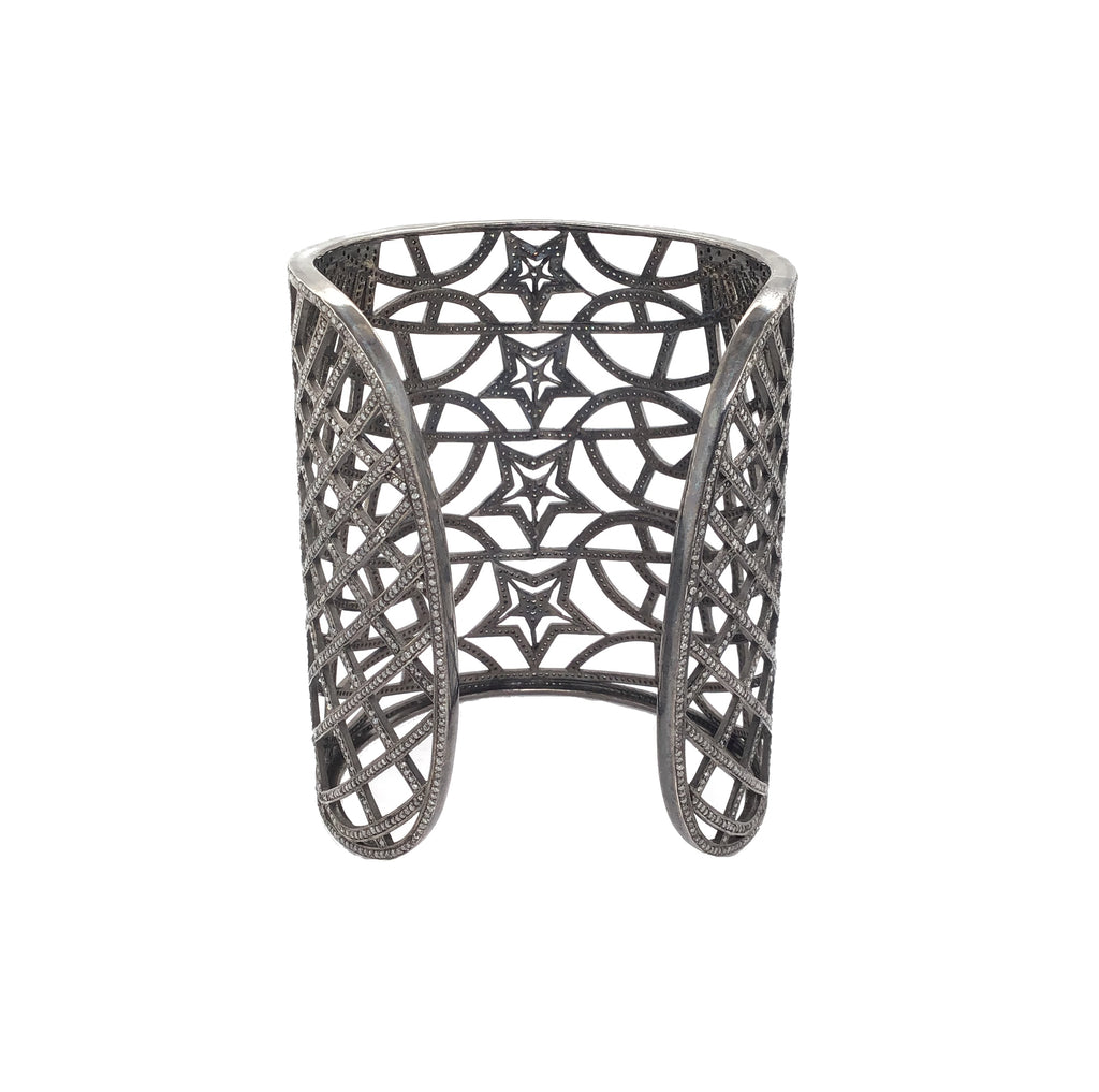 Black Rhodium and Diamond Extra Wide Shooting Star Cuff