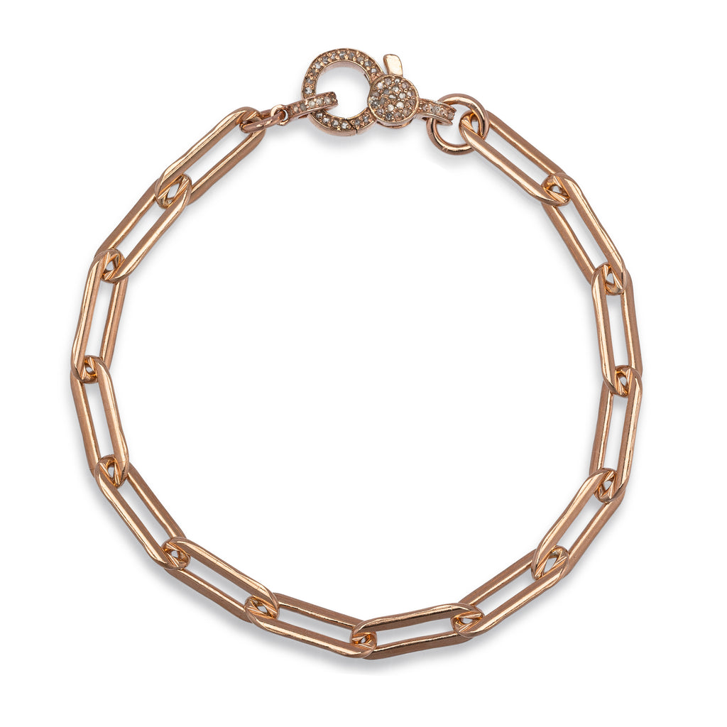 Rose Gold Filled Chain and Diamond Lobster Clasp Pick Your Length Bracelet