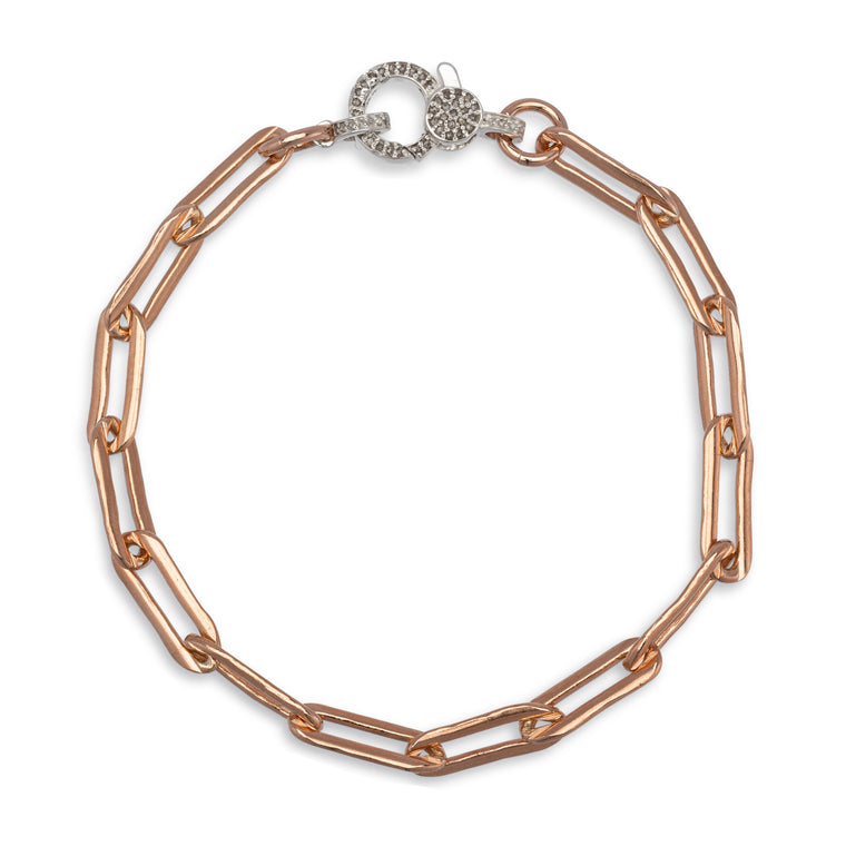 Rose Gold Filled Chain and Diamond Clasp Pick Your Length Bracelet