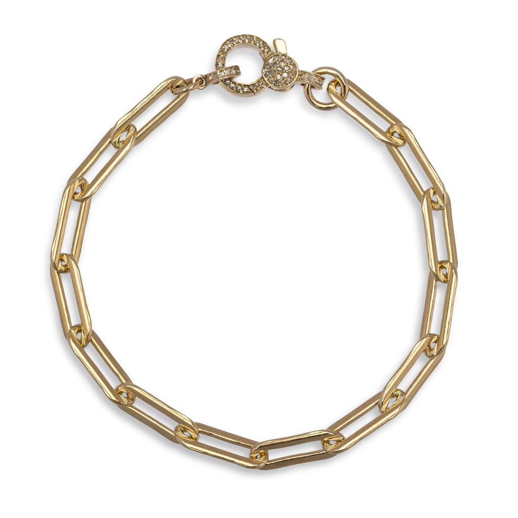 Yellow Gold Filled Chain and Diamond Lobster Clasp Pick Your Length Bracelet