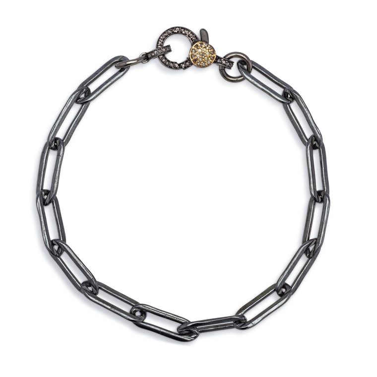 Black Rhodium Silver Filled Chain and Two Toned Diamond Clasp Pick Your Length Bracelet