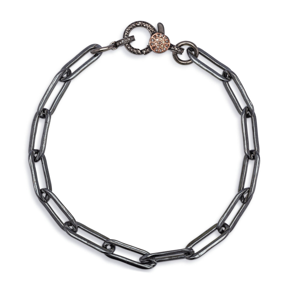 Black Rhodium Silver Chain and Two Toned Diamond Clasp Pick Your Length Bracelet