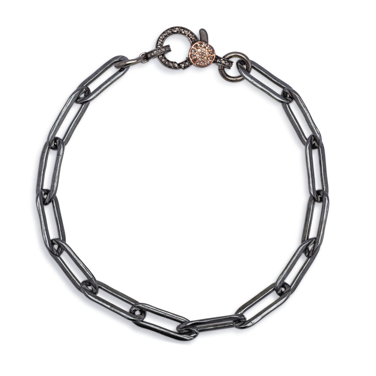 Black Rhodium Silver Chain & Two Toned Diamond Lobster Clasp Pick Your Length Bracelet