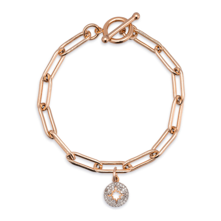 Rose Gold Filled Chain and Diamond Sunburst Bracelet