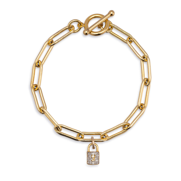 Yellow Gold Filled Chain and Diamond Lock Bracelet