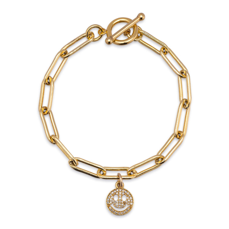 Yellow Gold Filled Chain and Diamond Smiley Face Bracelet