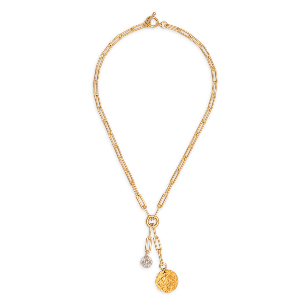 Yellow Gold Filled Chain with Diamond Evil Eye and Lion Coin Short Pendant Necklace