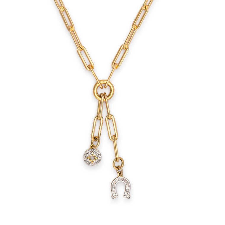 Yellow Gold Filled Chain with Diamond Horseshoe and Sunburst Short Pendant Necklace