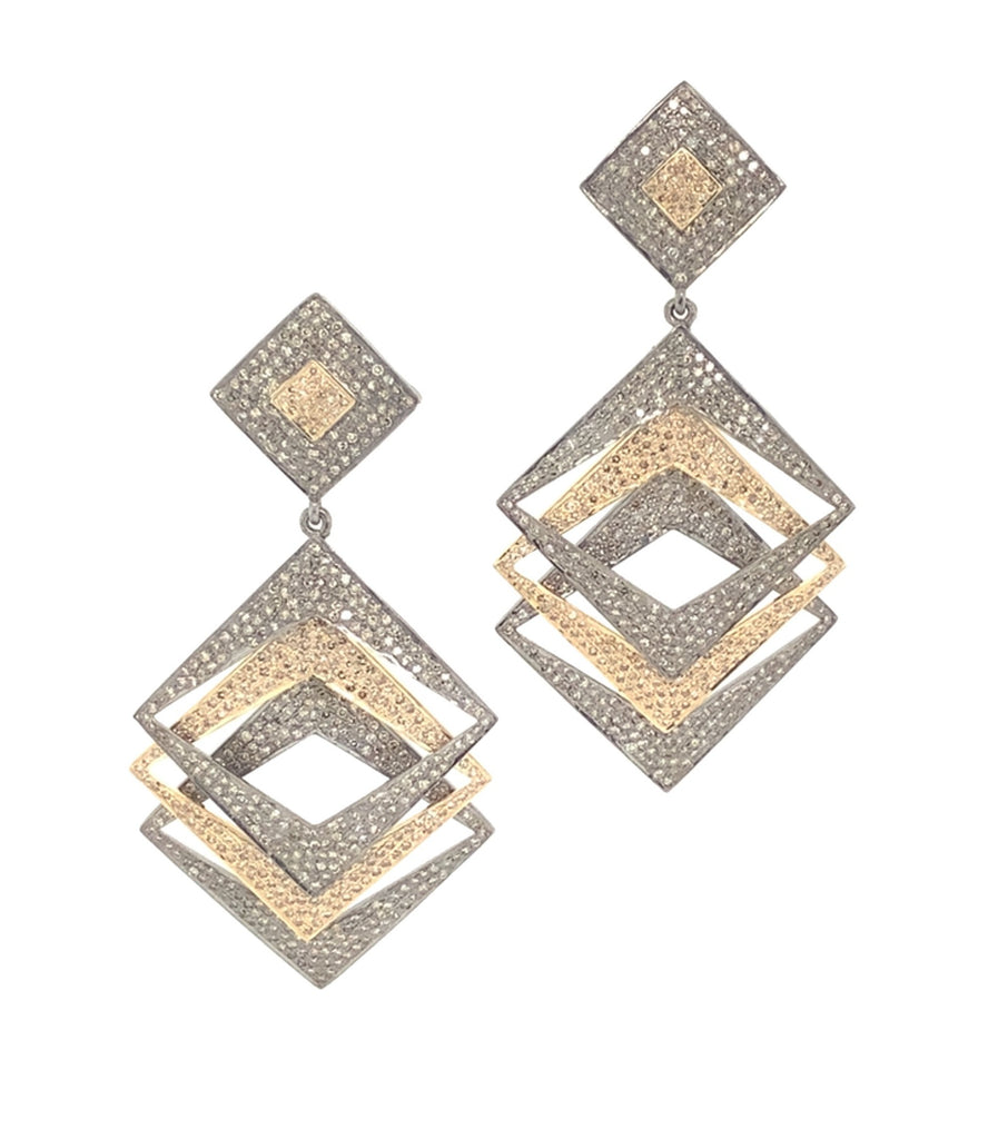 Two Toned Triple Drop Square Diamond Earrings