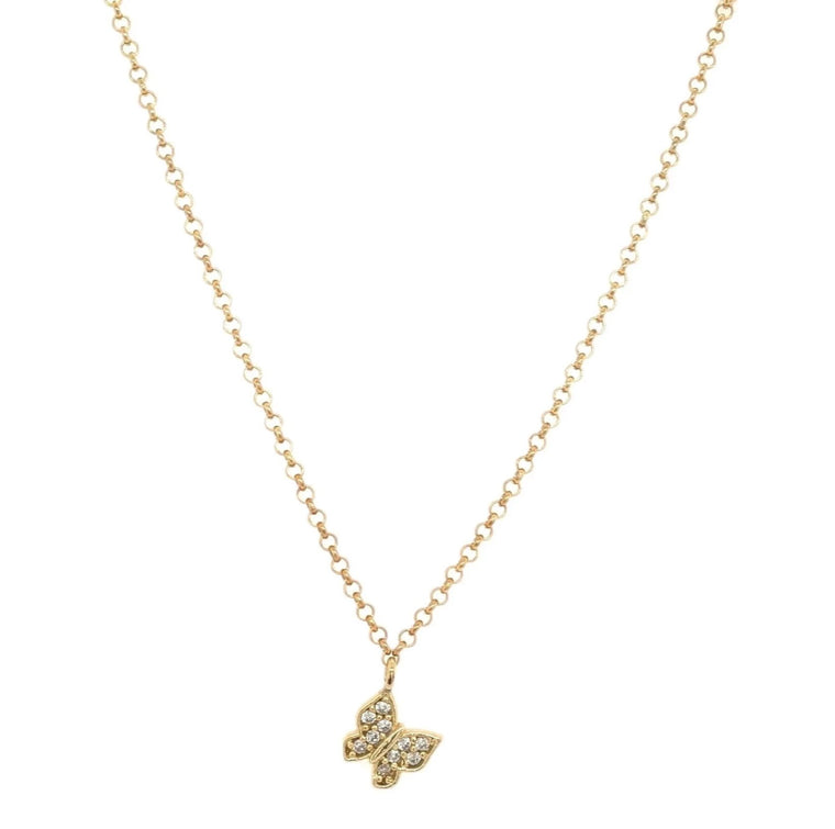 Yellow Gold CZ Butterfly Necklace