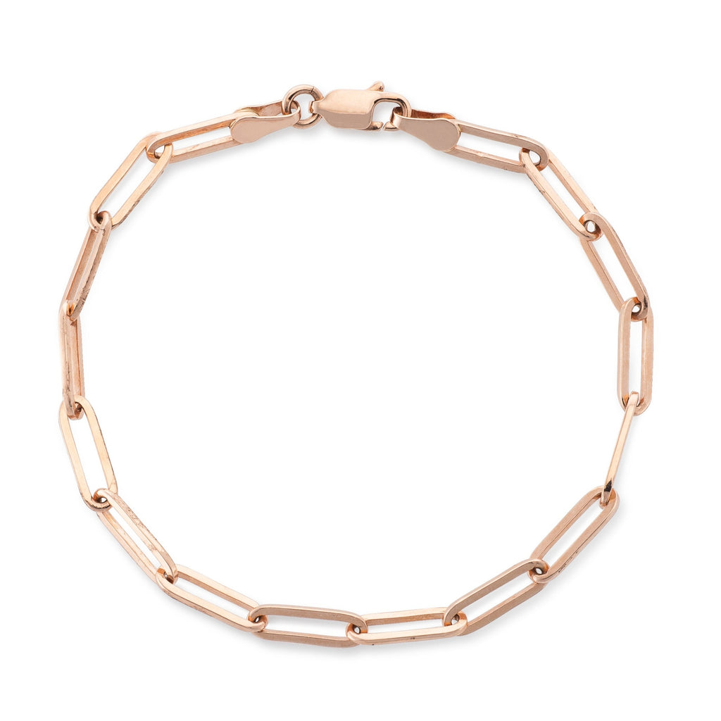 14 Karat Rose Gold Solid Thick Paperclip Chain Bracelet