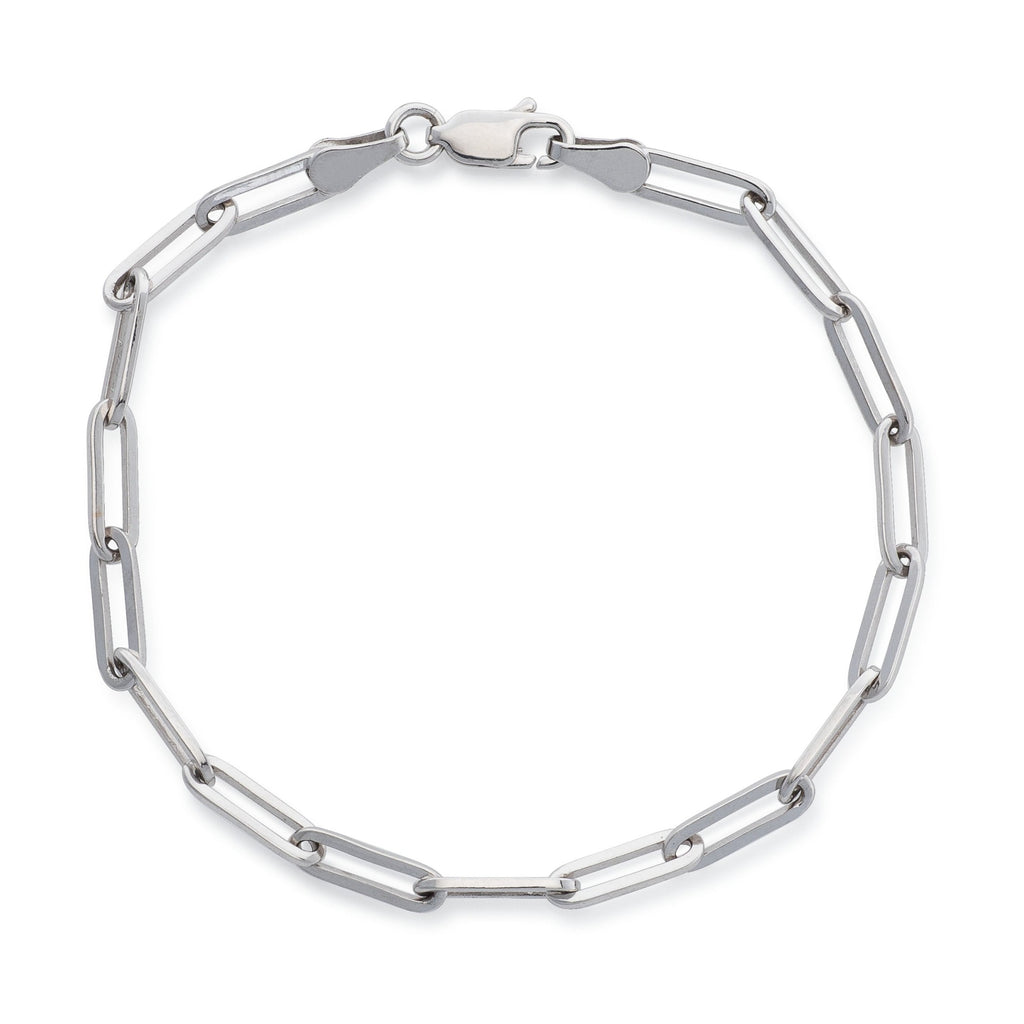 14 Karat White Gold Solid Thick Paperclip Chain Bracelet