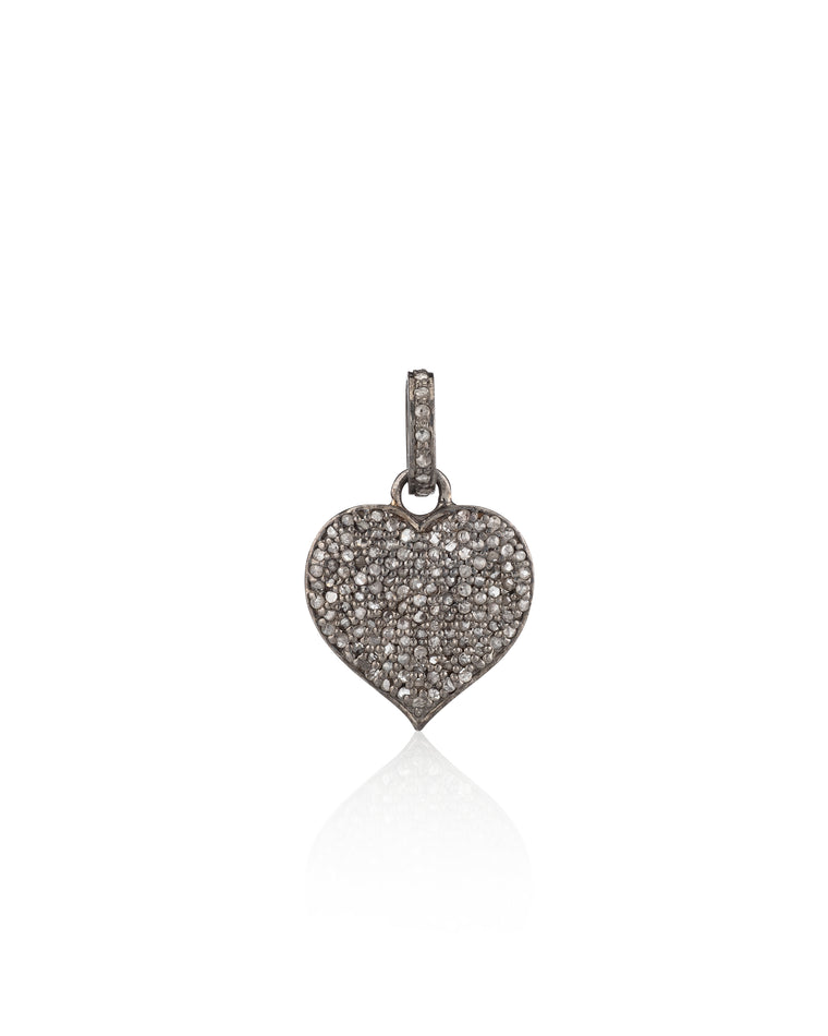 Black Rhodium & Diamond Heart Charm
