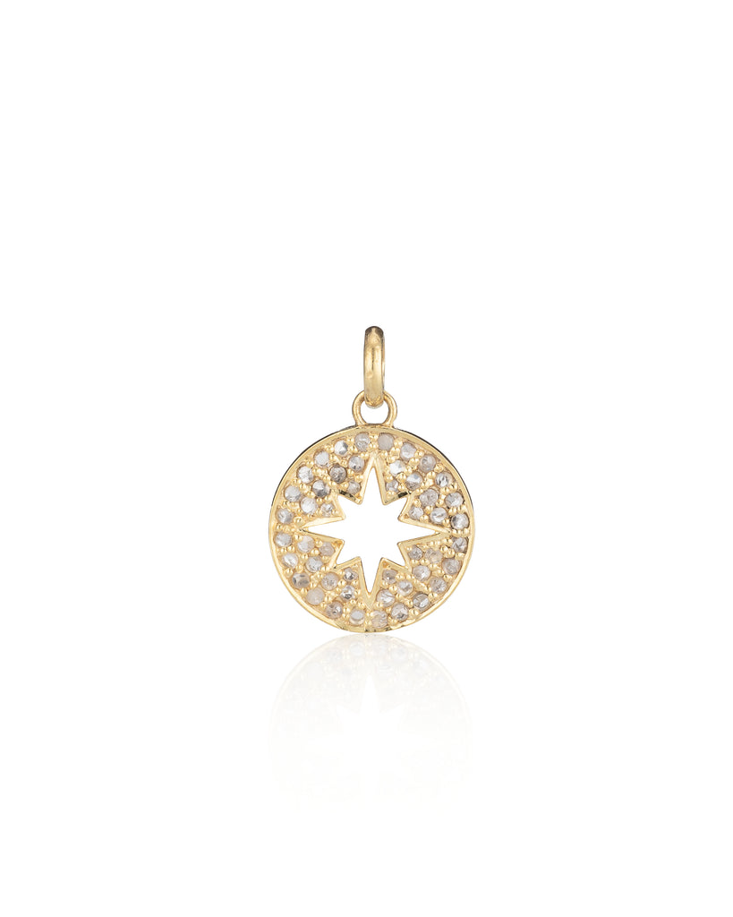 YELLOW GOLD VERMEIL AND DIAMOND SUNBURST CHARM