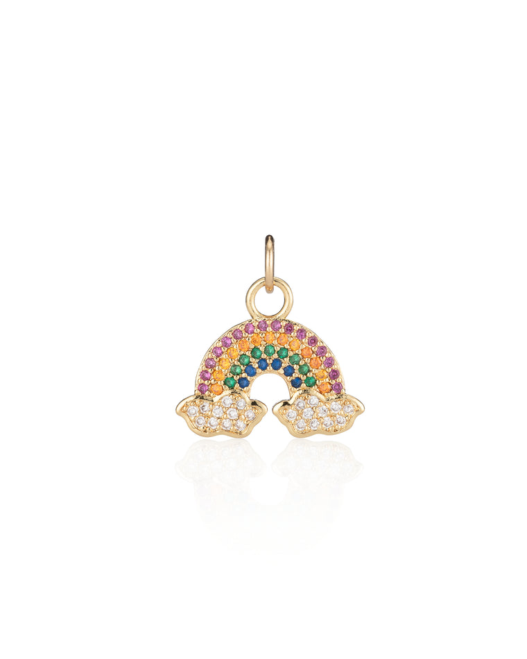 Gold Vermeil and Cubic Zirconia Rainbow Charm