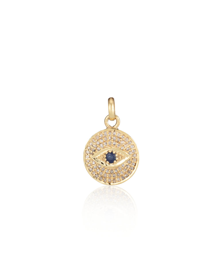 Yellow Gold Vermeil and Sapphire Evil Eye Charm