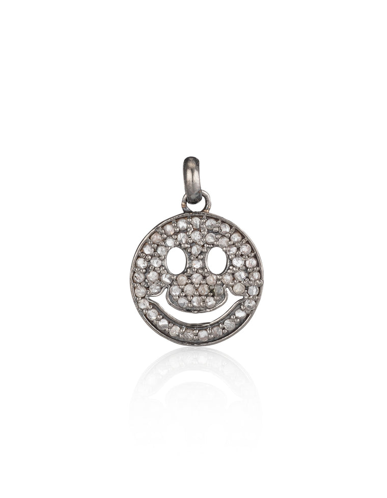 Black Rhodium & Diamond Smiley Face Charm