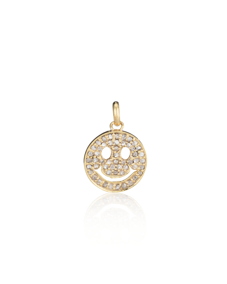 Yellow Gold Vermeil and Diamond Smiley Face Charm