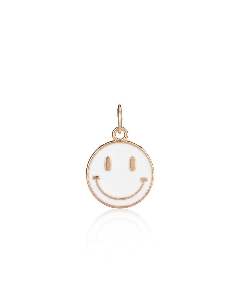 YELLOW GOLD VERMEIL AND WHITE ENAMEL SMILEY FACE CHARM