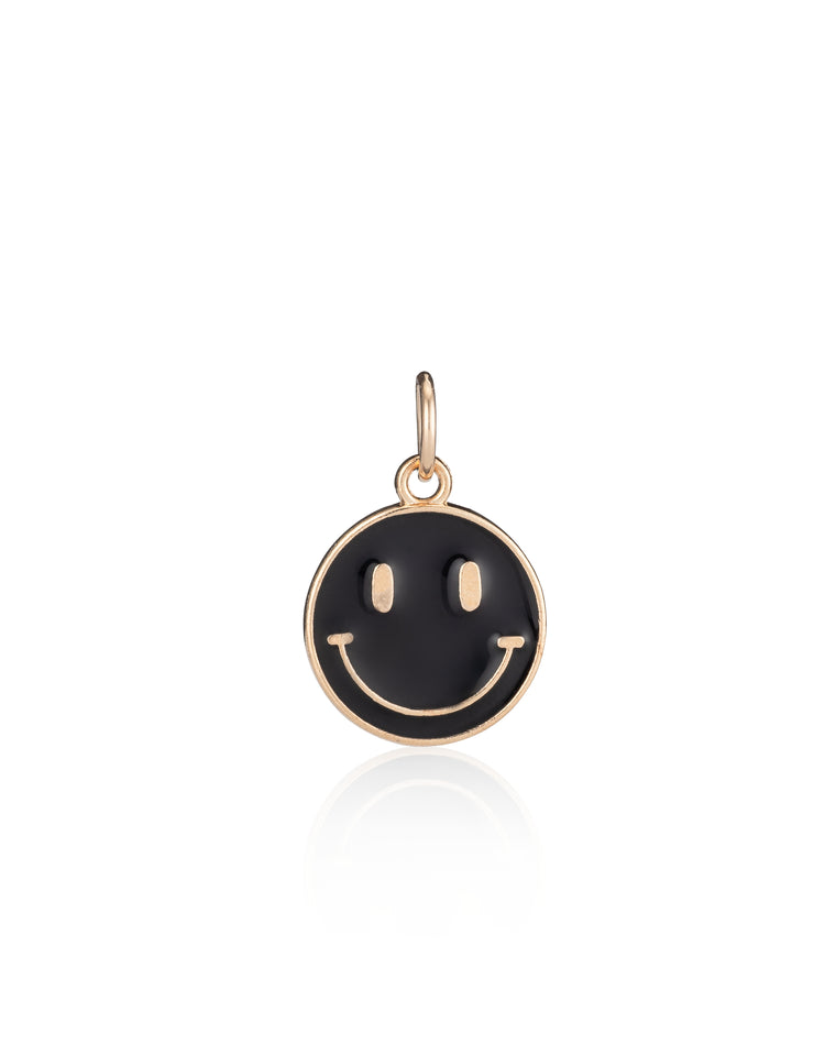 Gold Vermeil and Black Enamel Smiley Face Charm