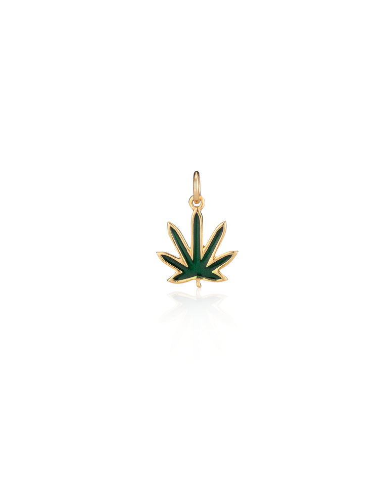 Yellow Gold Enamel Pot Leaf Charm