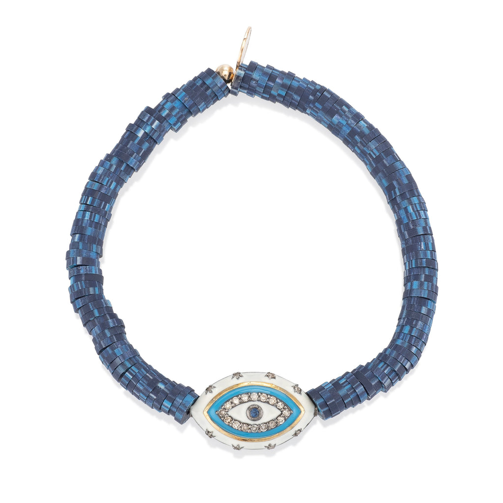 Blue Vinyl and White Diamond Enamel Evil Eye Charm
