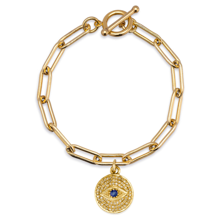 Gold Filled Chain Bracelet with Diamond Evil Eye Charm