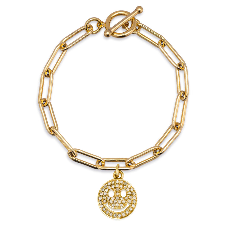 Gold Filled Chain Bracelet with Diamond Smiley Face Charm