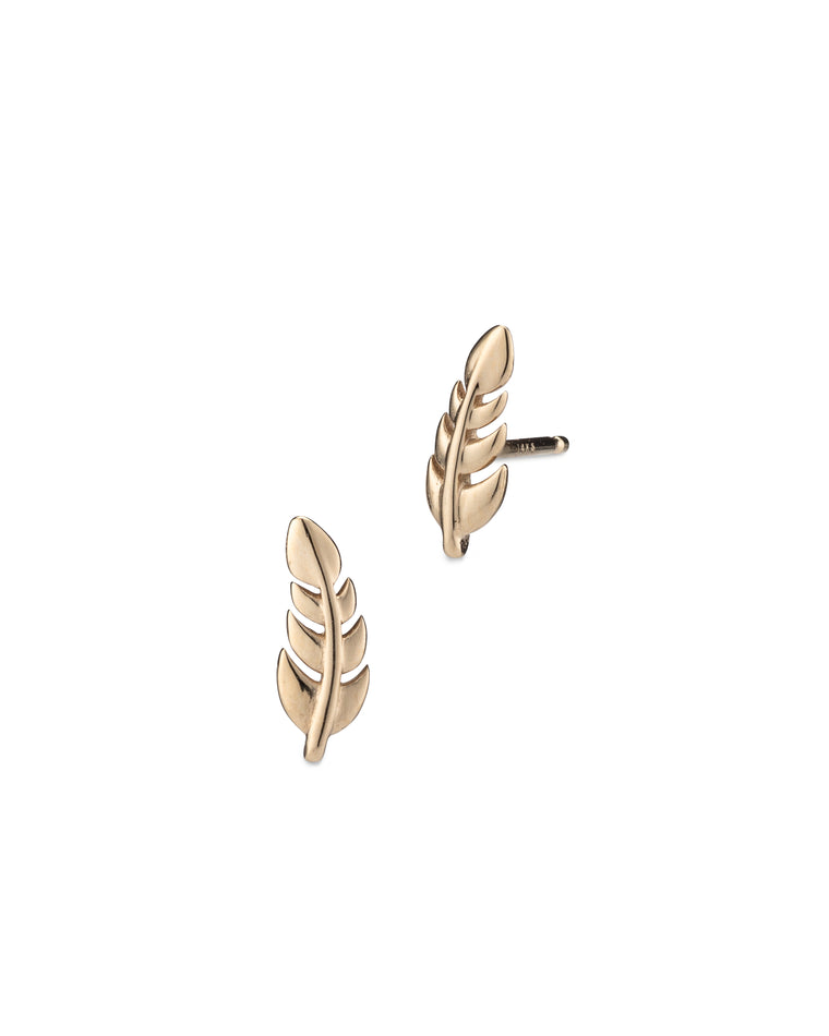 Yellow Gold High Polished Feather Studs