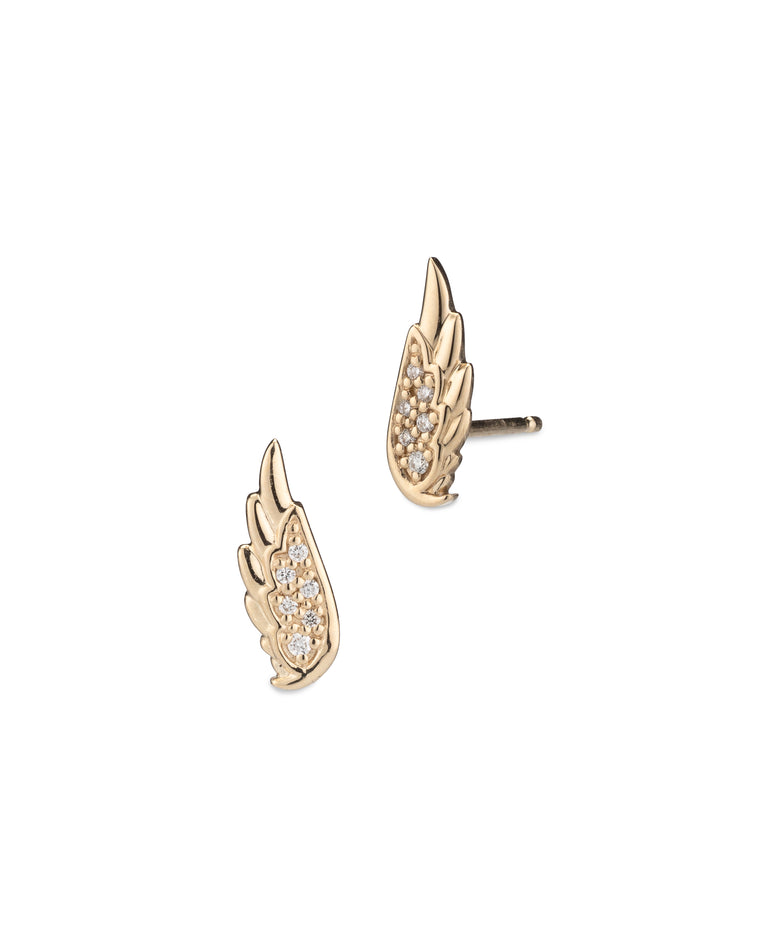 Yellow Gold Diamond Wing Studs