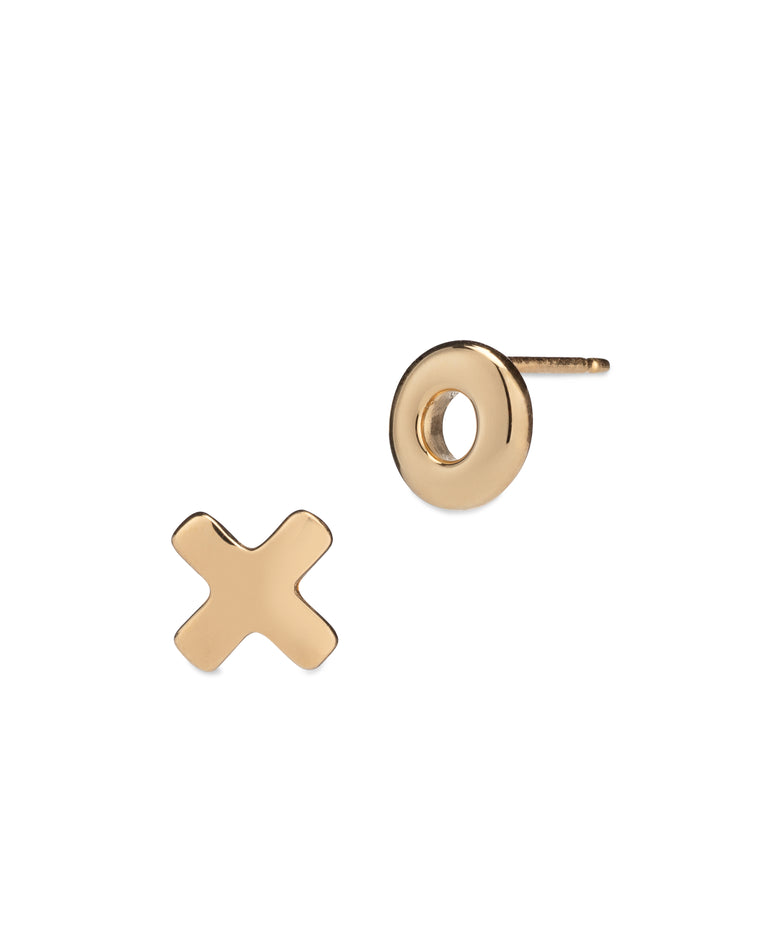 Yellow Gold X O Stud Earrings