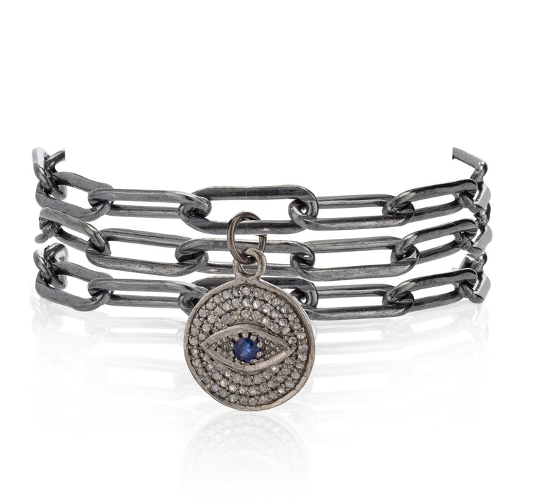 Black Rhodium Chain and Large Black Rhodium and Diamond Evil Eye Triple Wrap Bracelet