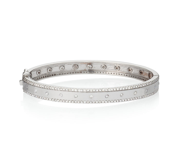 White Gold and Diamond High Polish Hinge Bracelet