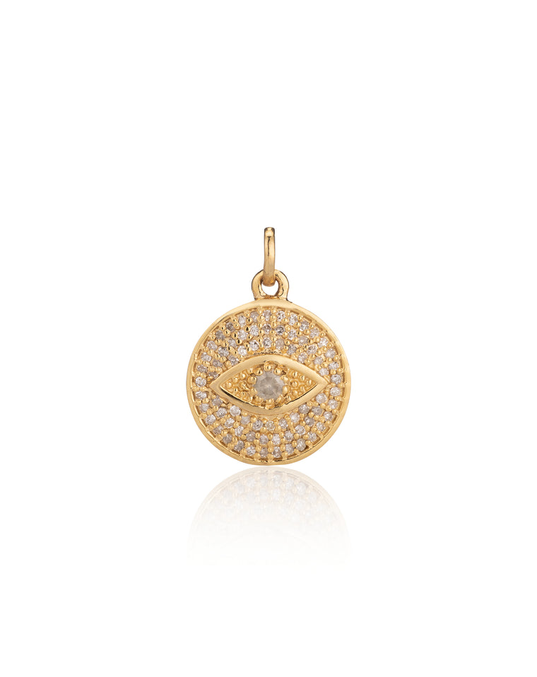 Yellow Gold Vermeil and Diamond Evil Eye Charm