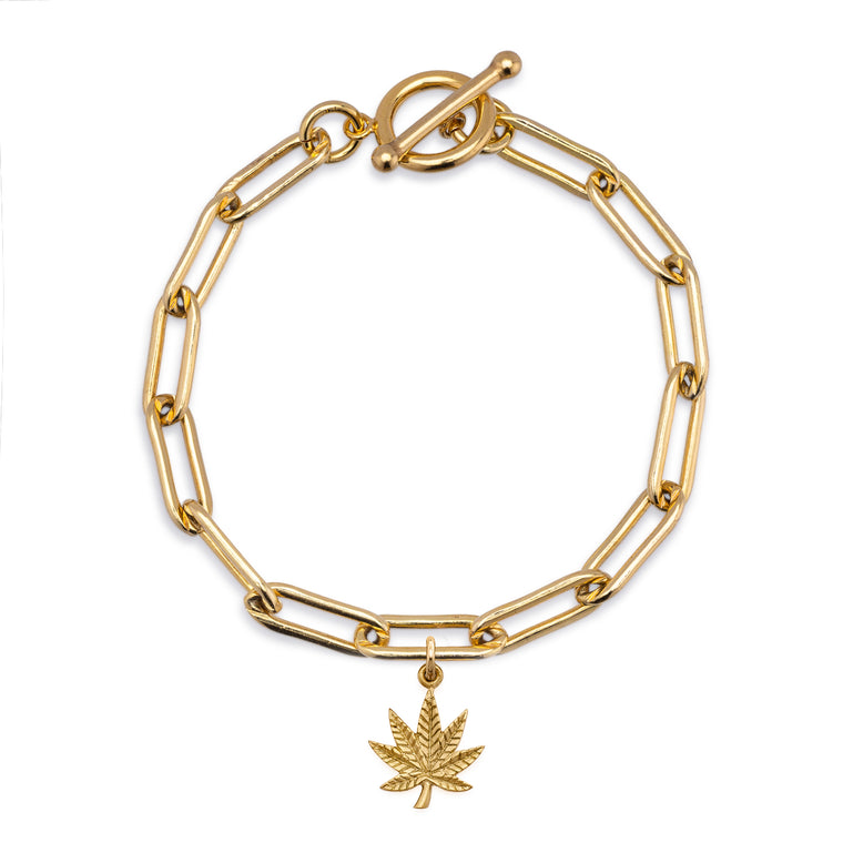 Gold Filled Chain Bracelet with Pot Leaf Charm