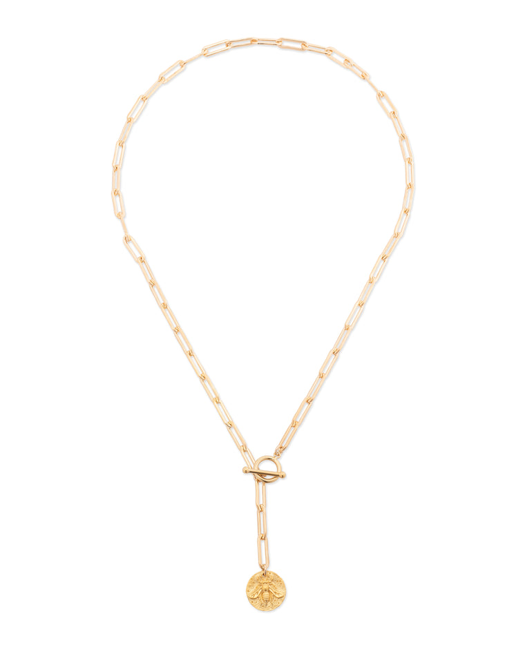 Gold Bee Coin and Chain Pendant Short Necklace