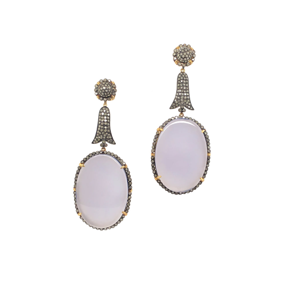 Chalcedony Diamond Drop Chandelier Earrings