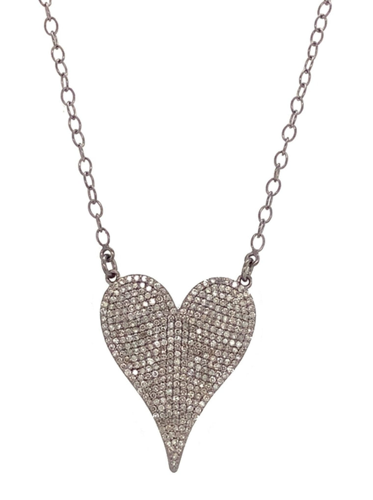 Black Rhodium and Diamond Jumbo Heart Pendant Necklace