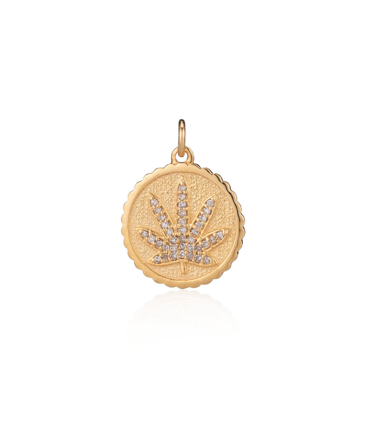 Yellow Gold Diamond Pot Leaf Pendant
