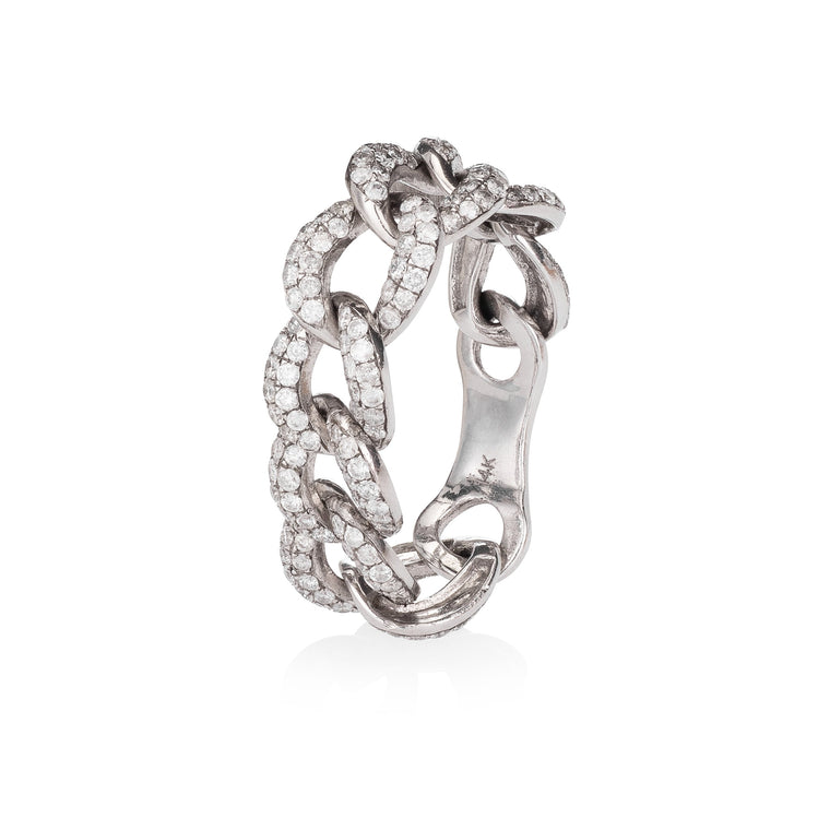 White Gold and Diamond Chain Ring