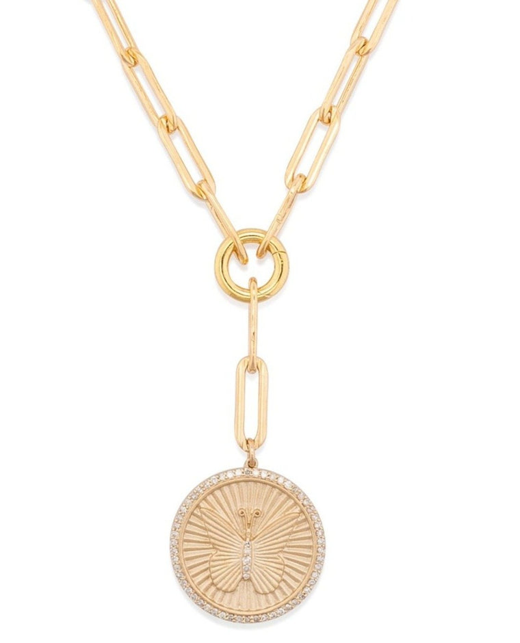Yellow Gold Filled Chain with Diamond Butterfly Short Pendant Necklace