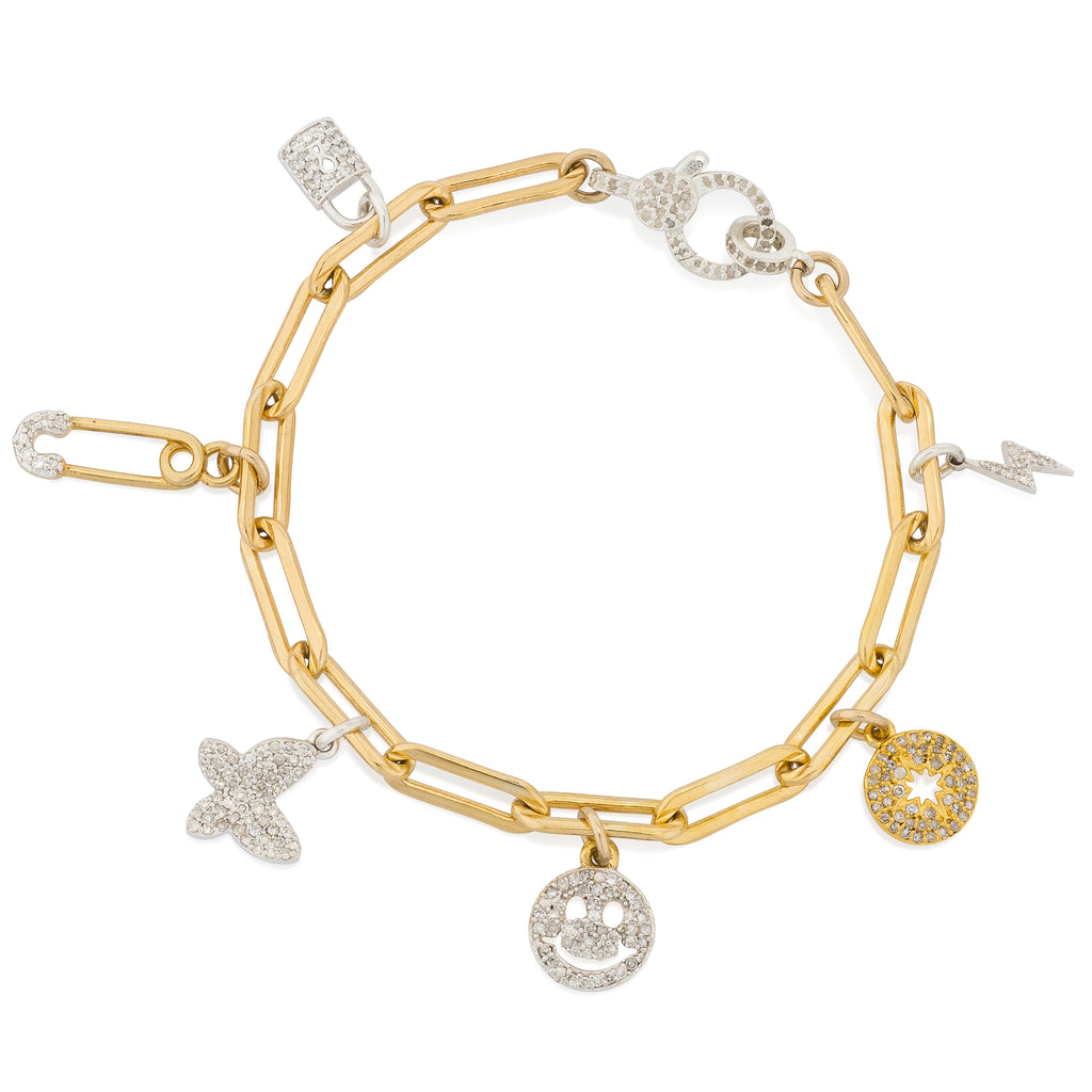 Yellow Gold Filled Chain Ultimate Diamond Charm Bracelet