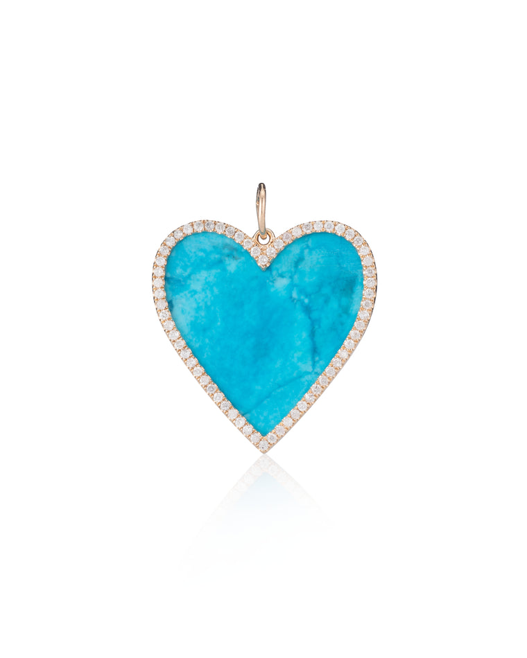 Gold Diamond and Turquoise Jumbo Heart Charm