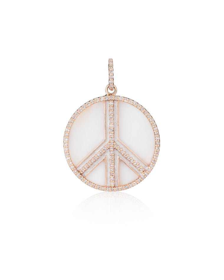 Gold Diamond and Mother of Pearl Jumbo Peace Sign Charm