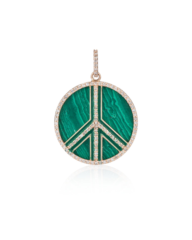 Gold Diamond and Malachite Jumbo Peace Sign Charm