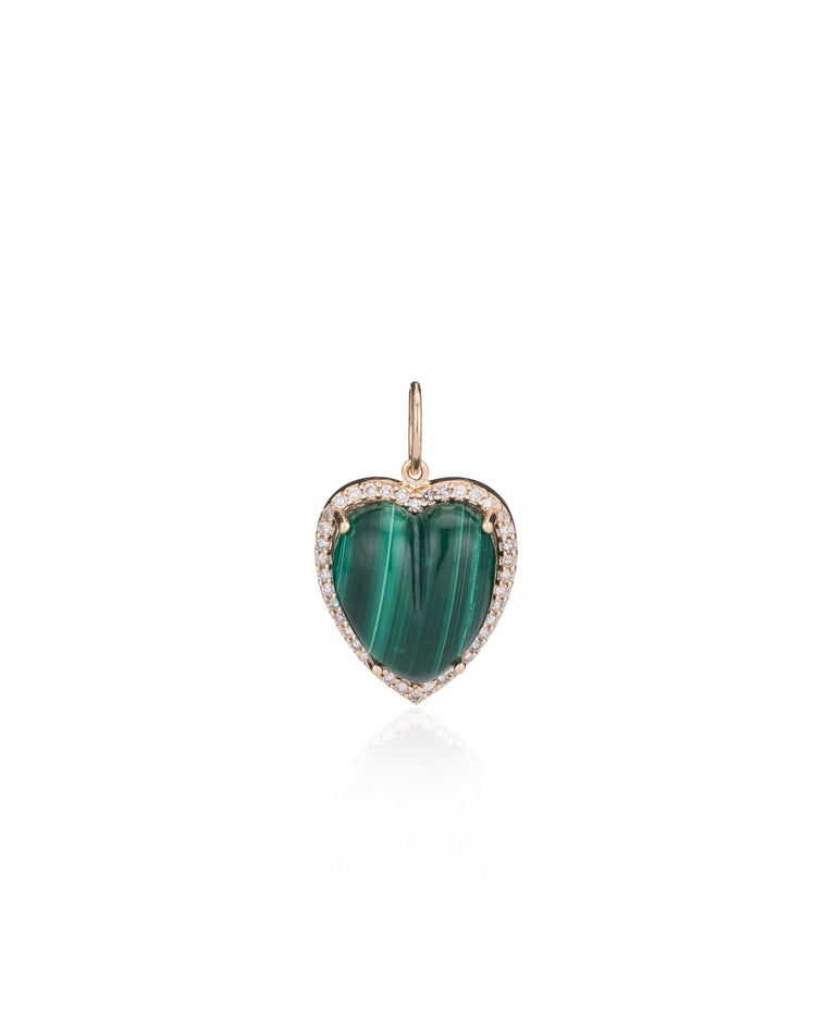 Gold Diamond and Malachite Chubby Heart Charm